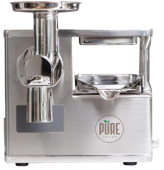 PURE Juicer Two-Stage Masticating Juicer  Grinder and Hydraulic Press for True Cold Press Juices